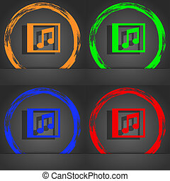 Audio, MP3 file icon symbol. Fashionable modern style. In the orange, green, blue, green design.