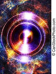 audio, musica, altoparlante, in, space., cosmico, spazio, e, stelle, astratto, cosmico, fondo, spazio, musica, musica, concept.
