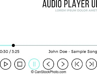 Audio player UI. Media player interface, black and blue gui elements. Thin line design. Minimalistic clean theme. Vector illustration