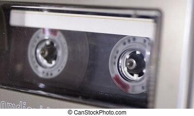audio, pont, magnétophone cassettes bande, tourne, inséré, jouer