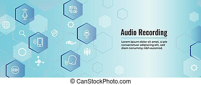 Audio Recording or Voice Command Icon with Sound Wave Images...