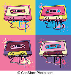 audio, retro, kasett band