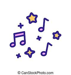 audio, símbolo, vector., notas, aislado, icono, ilustración, contorno