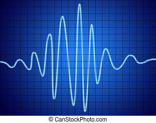 audio signal on blue screen. communication and electronics.