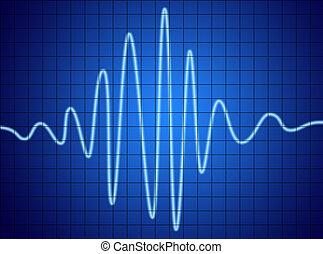 Audio Signal - audio signal on blue screen. communication ...