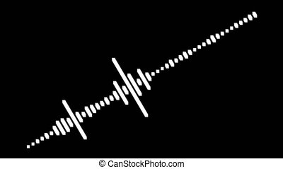 Audio signal equalizer the sound wave as a background motion. Black background