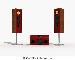 audio speaker and sub-woofer - audio speaker with sub-woofer...