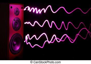 Audio Speaker Effect - Audio speakers in a wooden cabinet...
