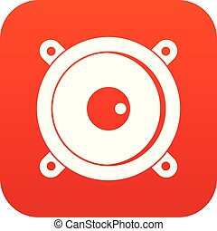 Audio speaker icon digital red