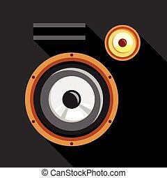 Audio speaker icon, flat style