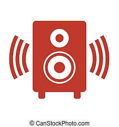 Audio speaker icon on white background.