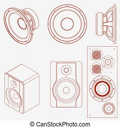 Audio speaker icon. Studio monitor. Subwoofer front view and...