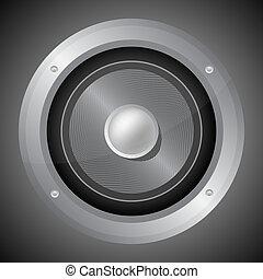 Audio speaker isolated on black background