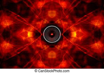 Audio speaker on a groovy background