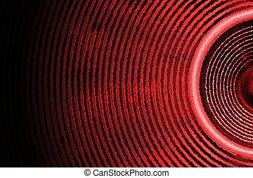 Audio speaker sound waves background - Red audio speaker...