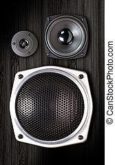 Audio speaker. The musical equipment. Close-up
