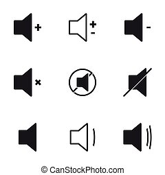 Audio Speaker Volume Icons. White background