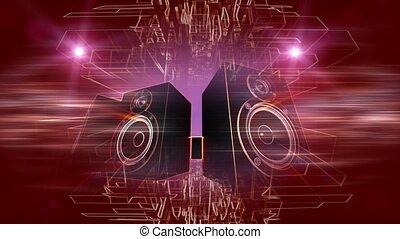 Audio speakers with purple background