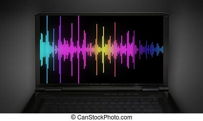 audio spectrum - audio wave at notebook computer