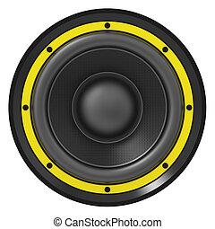 audio, spreker, illustratie, gele, 3d