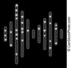 audio, stippen, vuurpijl, maas, frame, draad, signaal