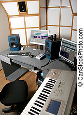 audio studio - work place of audio engineer of professional...