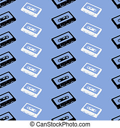 Audio tape - seamless background with black and white tapes