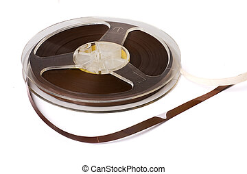 Audio tape reel - Reel of audio tape isolated on white...