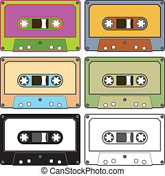 Audio tapes - Realistic illustration of colorful radio...