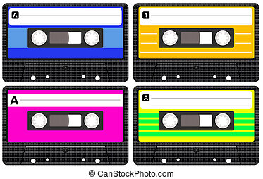 Set of four isolated blank retro audio cassette tapes