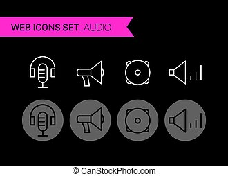Audio thin line icons vector set