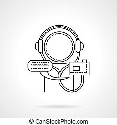 Audio tutorial flat line vector icon - Abstract person with...
