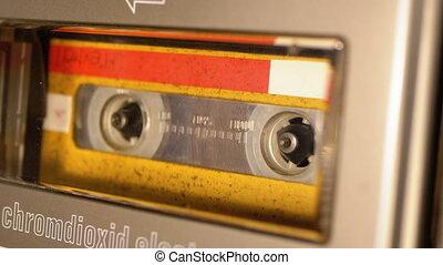 audio, vendange, jaune, bande cassettee, enregistreur, ...