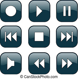 Audio-video control buttons - vector