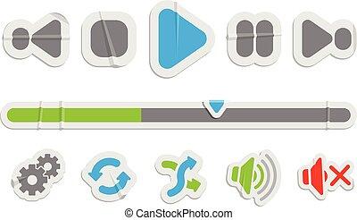 Audio Video control paper icons