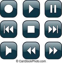 audio-video, controle, botões