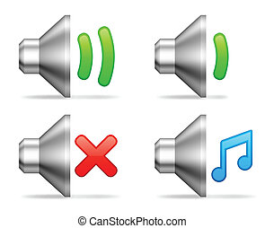 Audio volume icons. - Set of 4 audio volume icons.