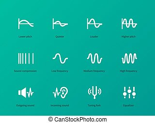 Audio wave amplitude icons on green background. Vector...