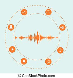 Audio Wave Music Stream Icon With Sound