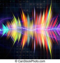 Audio Waveform - Funky neon glowing audio waveform or ...