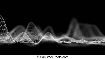 Audio wavefrom. Abstract music waves oscillation. Futuristic sound wave visualization. Synthetic music technology sample. Tune print. Distorted frequencies. 4k UHD.