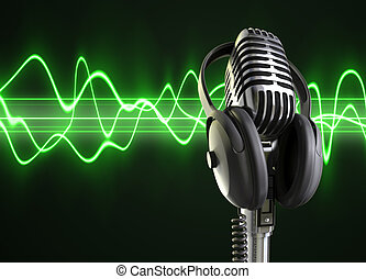 Audio Waves & Microphone - A microphone with headphones on...