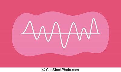 audio waves spectrum in pink background ,4k video animation
