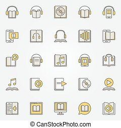 audiobook, 다채로운, 아이콘, 세트