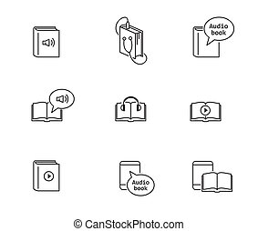 Audiobook and ebook icons. Vector outline