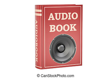 Audiobook concept, 3D rendering isolated on white background