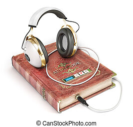 Audiobook concept. Book with headphones isolated on a white. 3d illustration