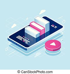 Audiobook concept isometric icon, online learning, pile of book on screen of mobile phone, internet course, tutorial application, red play button, cloud storage flat vector