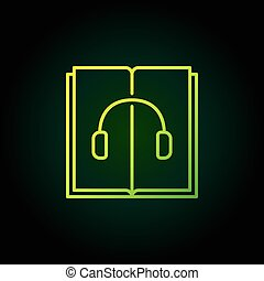 Audiobook green outline icon. Vector open book with...