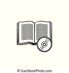 Audiobook hand drawn sketch icon. - Audiobook hand drawn...